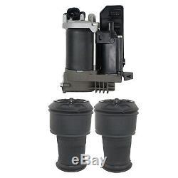 Pair Air Suspension Springs + Compressor Pump for Citroen Grand Picasso C4 06-13