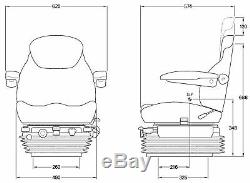 Kab 85 / E6 De Luxe Tracteur Seat Air Suspension 12v Inc Pivotant Et Appuie-tête Accoudoirs