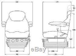 Kab 85 / E6 Suspension Pneumatique Pour Siège De Tracteur De Luxe 12v Inc. Emerillon, Repose-tête Et Accoudoirs